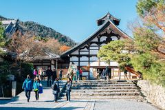 Tenryuji temple and tourist people in Kyoto, Japan. Kyoto, Japan - December 17, 2015 : Tenryuji temple and tourist people Royalty Free Stock Photography