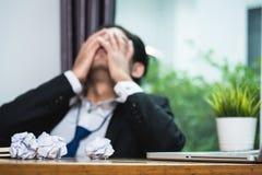 Tensão deprimida do homem de negócios virado Fotografia de Stock Royalty Free