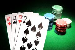 4 Tens poker cards Royalty Free Stock Image