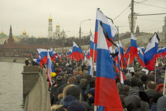 Tens of thousands march in memory of murdered Boris Nemtsov on  March 1 2015 Royalty Free Stock Images