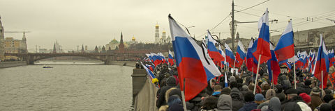 Tens of thousands march in memory of murdered Boris Nemtsov on  March 1 2015 Stock Photo