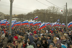 Tens of thousands march in memory of murdered Boris Nemtsov on March 1 2015. Russia opposition politician Boris Nemtsov shot dead in Moscow on 28 February 2015 stock images