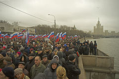 Tens of thousands march in memory of murdered Boris Nemtsov on  March 1 2015 Royalty Free Stock Photography