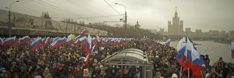Tens of thousands march in memory of murdered Boris Nemtsov on  March 1 2015 Royalty Free Stock Photos
