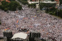 ROMANIA`S RULING PARTY ORGANISED A PROTEST IN BUCHAREST. Tens of thousands of members and sympathizers of PSD, the ruling party in Romania, took the streets from royalty free stock photos