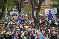 Tens of thousands protest against lex CEU in Budapest, Hungary Stock Images