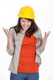Tense constructon worker stock photo