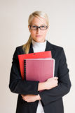 Tense looking young business woman. Royalty Free Stock Photos