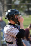 Tense Moment. Catcher at a neighborhood practice baseball game experiences tense moments Stock Photo