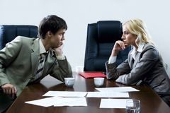 Tense negotiations Royalty Free Stock Photo