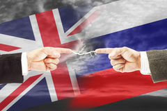 Tense relations between Russia and Great Britain Stock Image