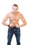 Tense shirtless man Stock Image