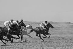 Tense struggle in the horse racing Stock Image
