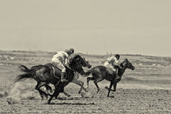 Tense struggle in the horse racing Stock Images