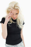 Tensed casual young blond Royalty Free Stock Photography