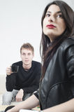 Tensed couple Stock Images
