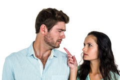Tensed couple having argument Royalty Free Stock Photos