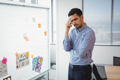 Tensed executive standing near whiteboard Royalty Free Stock Photography