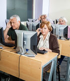 Tensed Senior Students Looking At Computers In Classroom Stock Images