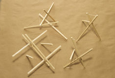 Tensegrity. Top view of a few tensegrity pieces Stock Photography