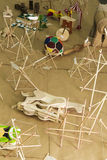 Tensegrity and toys. Paper and wood tensegrity and toys Stock Photography