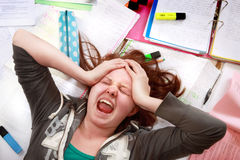 Tensión adolescente del examen Foto de archivo libre de regalías