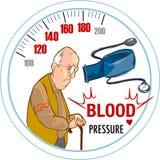 Tensión arterial alta y el viejo hombre Imagen de archivo libre de regalías