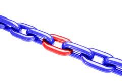 Tensión de cadena aislada en blanco Fotografía de archivo libre de regalías