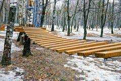 Tensión de madera de las escaleras en el parque del invierno Fotografía de archivo