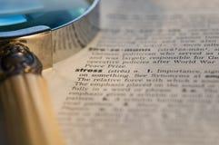 tensión en diccionario Foto de archivo libre de regalías