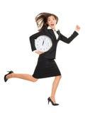 Tensión - mujer de negocios que se ejecuta tarde Imágenes de archivo libres de regalías