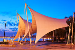The tensile membranes in night Royalty Free Stock Image