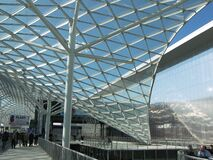 Tensile metal structure covering a long passage from Rho, Milan