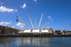 Tensile structure in ancient harbor of Genoa, Genova, Italy.  Royalty Free Stock Images