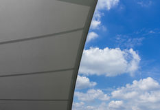 Tensile structure. Detail of tensile shading roof against blue sky Stock Images