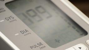 Tensiometer screen showing blood pressure stock video footage