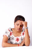 Tension. Asin business women in lonely with  headache Royalty Free Stock Photos
