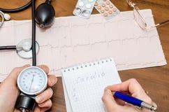 Tension artérielle mesurant avec le cardiogramme Images libres de droits