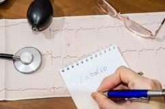 Tension artérielle mesurant avec le cardiogramme Image libre de droits