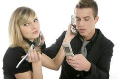 Tension avec des appels téléphoniques, gens d'affaires Image stock