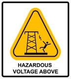 Tension dangereuse ci-dessus Bannière d'avertissement de vecteur Images stock