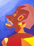 Tension de portrait de peintures d'aquarelle affligée illustration stock