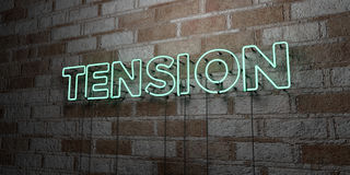 TENSION - Glowing Neon Sign on stonework wall - 3D rendered royalty free stock illustration. Can be used for online banner ads and direct mailers Stock Image