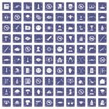 100 tension icons set grunge sapphire. 100 tension icons set in grunge style sapphire color isolated on white background vector illustration Royalty Free Stock Photography