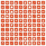 100 tension icons set grunge orange. 100 tension icons set in grunge style orange color isolated on white background vector illustration Stock Photos