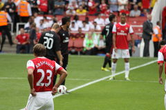 Tension before the kick off. Few seconds form the kick off of the game Arsenal-AC Milan during a game of the Emirates Cup 2010. Players in the picture: Arshavin Stock Images