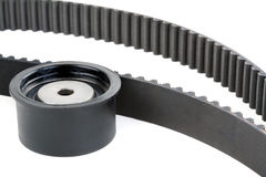 Tension pulley and timing belt Stock Images