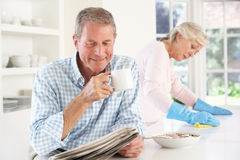 Tension between retired couple. At home Stock Photos