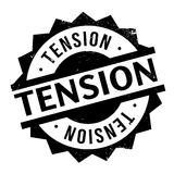 Tension rubber stamp. Grunge design with dust scratches. Effects can be easily removed for a clean, crisp look. Color is easily changed Stock Photo