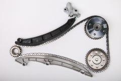 Tensor de cadena de la cadena del equipo que mide el tiempo y de la sincronización fotografía de archivo